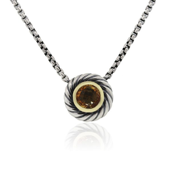 David Yurman Sterling Silver and 18k Yellow Gold Citrine Cookie Pendant Necklace