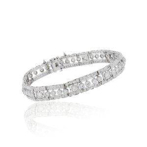 Platinum 6ctw Bezel Set Diamond Bracelet