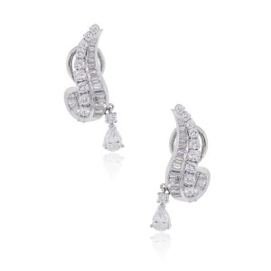 Platinum 6.50ctw Diamond Dangle Clip On Earrings