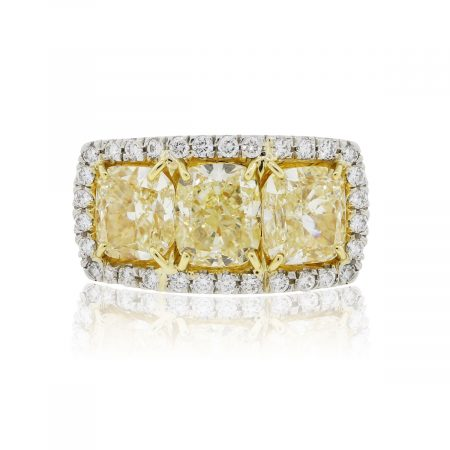 Platinum 18k Gold 6.83ctw Fancy Yellow Cushion Cut and 0.76ctw Round Brilliant Diamond Ring