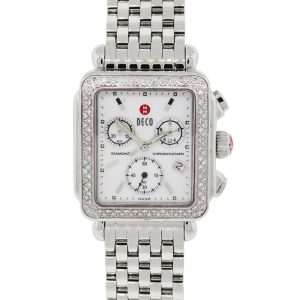 Michele 71-6000 Deco MOP Chronograph Dial Diamond Bezel Stainless Steel Watch