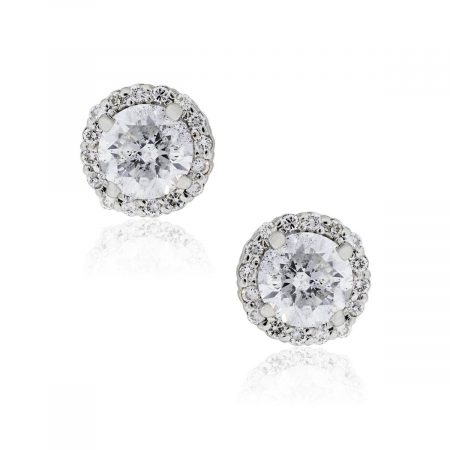 14k White Gold 2.10ctw Round Brilliant Diamond Halo Stud Earrings