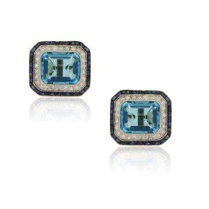 18k Yellow Gold 1ctw Diamond 1ctw Sapphire and Blue Topaz Cuff Links
