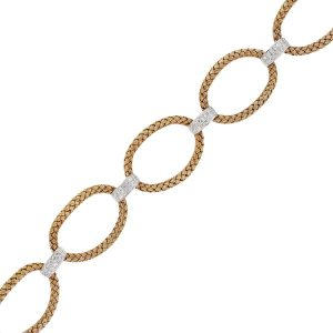 18k Rose Gold 1.20ctw Diamond Basket Weave Oval Link Bracelet