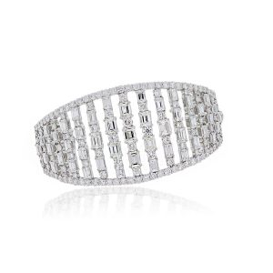 18k White Gold 17.88ctw Diamond Bangle Wide Bracelet