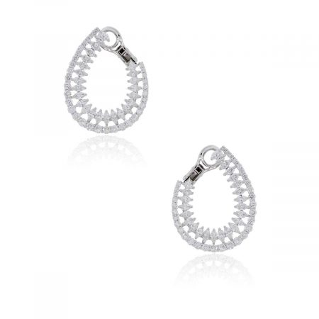 18k White Gold Marquise and Round Brilliant Diamond Earrings