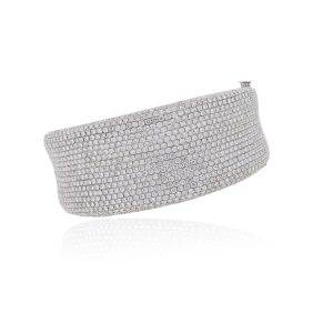 18k White Gold 17.57ctw Diamond Pave Wide Bangle Bracelet
