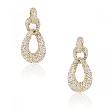 18k Yellow Gold 11.58ctw Diamond Door Knocker Earrings
