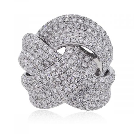 Pave Diamond Criss Cross wide cocktail ring