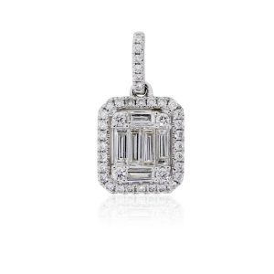 18k White Gold 0.40ctw Diamond Mosaic Halo Pendant