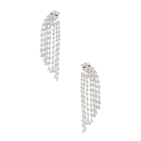 18k White Gold 17.56ctw Diamond Multi Drop Earrings