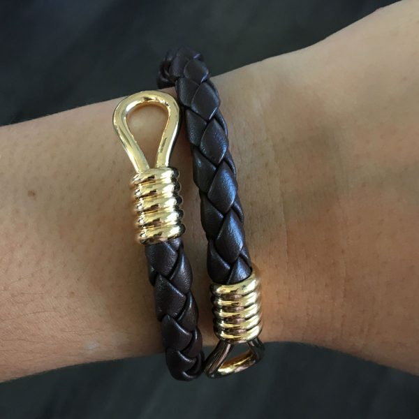 18k Yellow Gold Brown Braided Leather Mens Open Bracelet