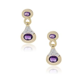 14k Yellow Gold 0.20ctw Diamond and Amethyst Dangle Earrings