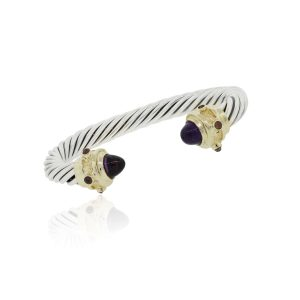 14k Yellow Gold Sterling Silver Amethyst Cable Bracelet