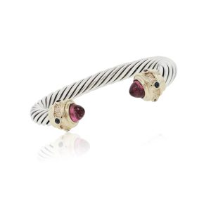 14k Yellow Gold Sterling Silver Pink Tourmaline Cable Bracelet