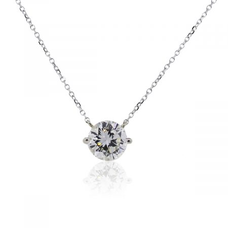 18k White Gold 1.38ct EGL Certified Diamond Necklace