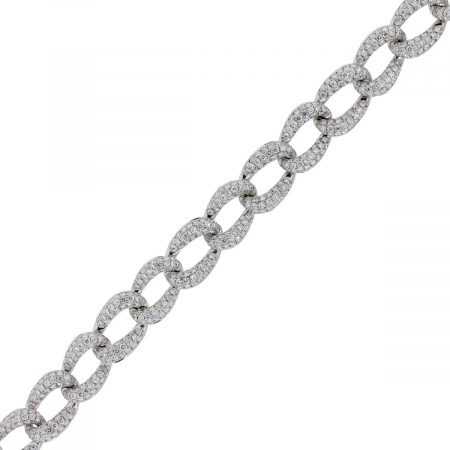 18k White Gold 10.78ctw Diamond Pave Oval Link Bracelet
