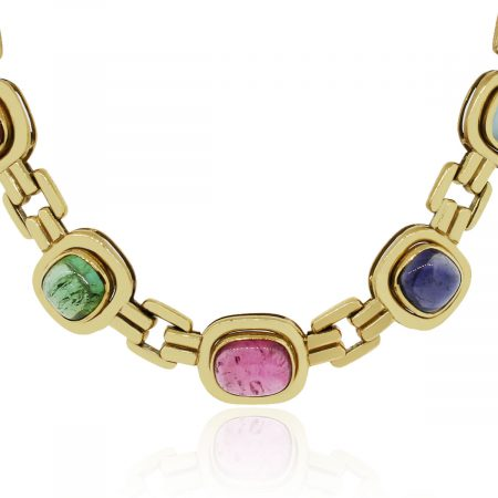 18k Yellow Gold Semi-Precious Gemstone Necklace