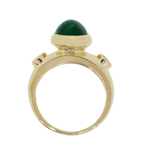 18k Yellow Gold 0.20ctw Diamond Oval Cabochon Emerald Ring