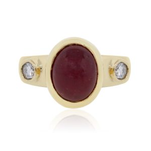 18k Yellow Gold 0.20ctw Diamond Oval Cabochon Ruby Ring
