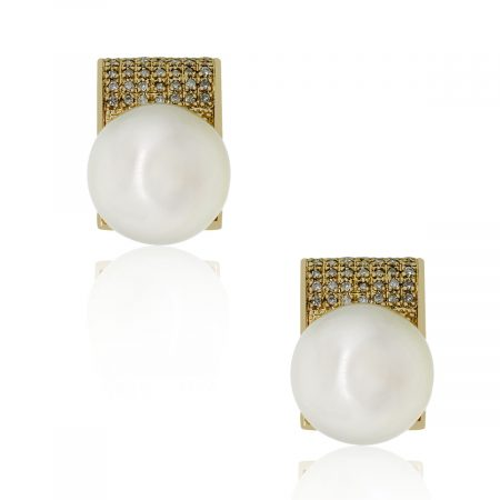 Diamonds and Pearl earrings