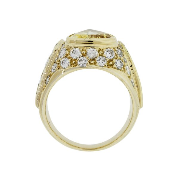 18k Yellow Gold Pear Shape Yellow Sapphire and 1.25ctw Diamond Ring