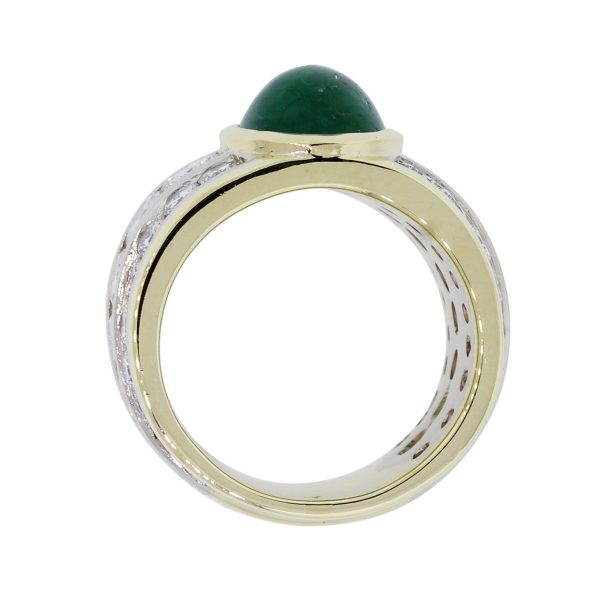 18k Yellow Gold Oval Cabochon Emerald and 3ctw Diamond Wide Ring