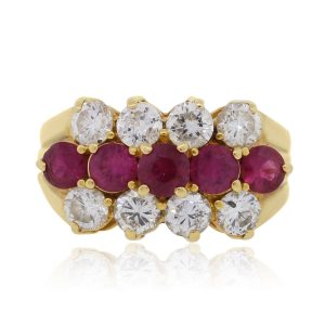 18k Yellow Gold 1.20ctw Diamond and 1.45ctw Ruby Ring