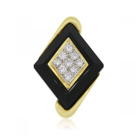 18k Yellow Gold 0.25ctw and Black Onyx Elongated Ring