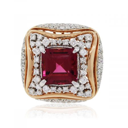 18k Rose Gold 3.88ct Rubellite and 0.88ctw Diamond Ring