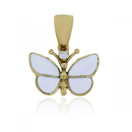 14k Yellow Gold Diamond and White Enamel Butterfly Pendant