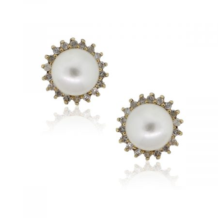 14k Yellow Gold 7mm Pearl and 0.20ctw Diamond Halo Stud Earrings