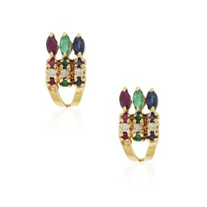 18k Yellow Gold 0.12ctw Diamond Emerald Ruby and Sapphire Earrings