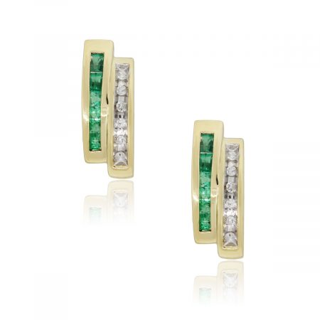 Yellow Gold 0.24ctw Diamond and 0.24ctw Emerald Diamond Earrings
