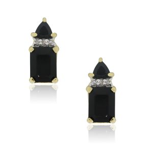 Yellow Gold Onyx and 0.06ctw Diamond Drop Earrings