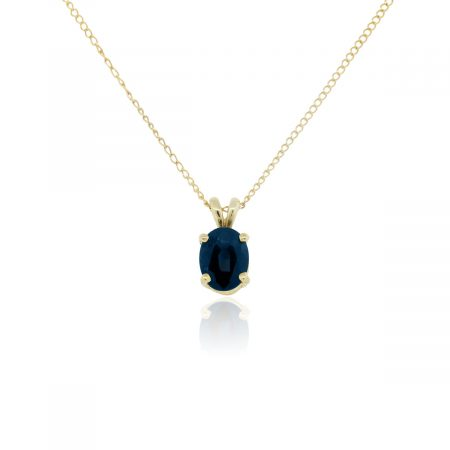 14k Yellow Gold 1.25ct Blue Oval Sapphire Pendant With Necklace