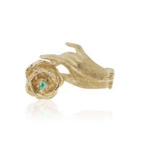 14k Yellow Gold 0.30ct Emerald Hand Holding Rose Pin