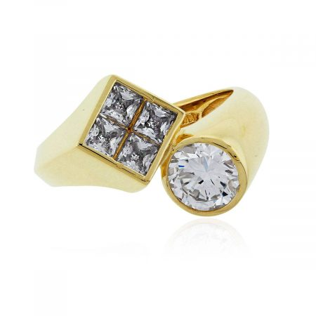14k Yellow Gold Princess Cut And Round Brilliant Cz Bypass Ring