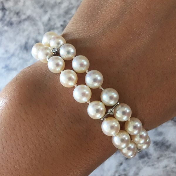 14k White Gold 0.30ctw Diamond and 7mm Pearl Double Strand Bracelet