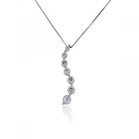 14k White Gold 0.40ctw Diamond Drop Pendant With Box Chain Necklace