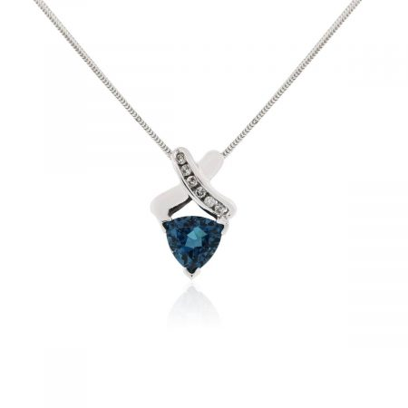14k White Gold 0.12ctw Diamond and Trillion Shape Blue Topaz Pendant Necklace