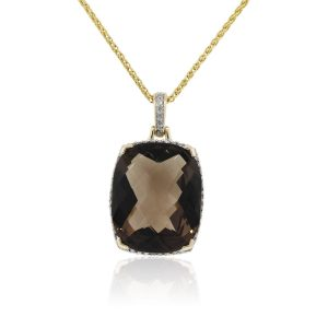 14k Yellow Gold 1.12ctw Diamond and Smoky Topaz Pendant Necklace
