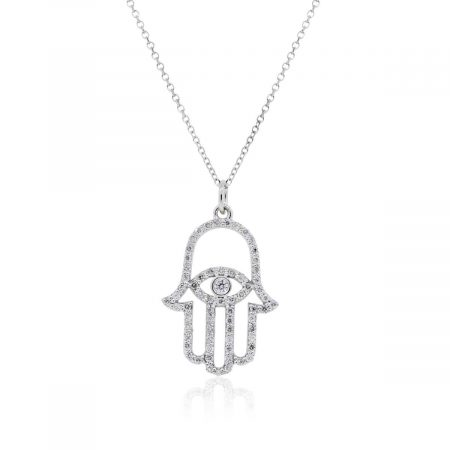 KC Designs 14k White Gold 0.66ctw Diamond Evil Eye Hamsa Pendant Necklace