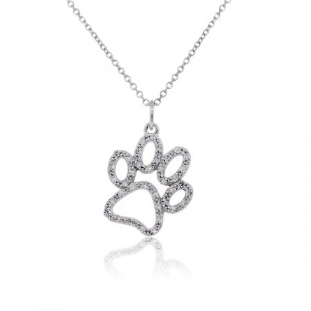 KC Designs 14k White Gold 0.20ctw Diamond Large Paw Pendant Necklace