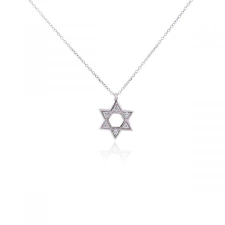 KC Designs 14k White Gold 0.10ctw Diamond Star of David Pendant Necklace