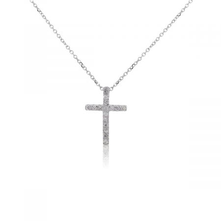 KC Designs 14k White Gold 0.15ctw Diamond Cross Pendant Necklace