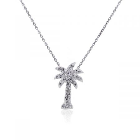KC Designs 14k White Gold 0.10ctw Diamond Small Palm Tree Pendant With Necklace