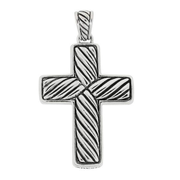 David Yurman Sterling Silver Onyx Cross Pendant
