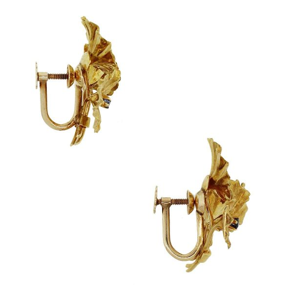 Tiffany & Co. 18k Yellow Gold 0.03ct Sapphire Flower Earrings