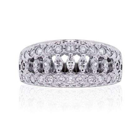 14k White Gold 0.75ctw Marquise and Round Brilliant Diamond Band